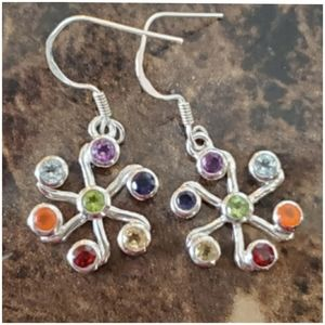 "Healing Chakra Earrings 1.25"" long"